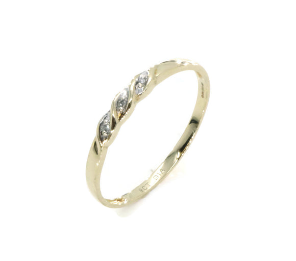 Trilogy White Diamond Ring 9ct Yellow Gold