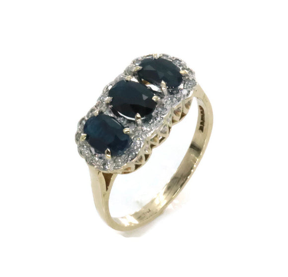 Trilogy Blue Sapphire & Diamond Ring 9ct Gold