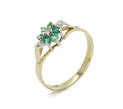 Emerald and Diamond Ring 9ct Gold