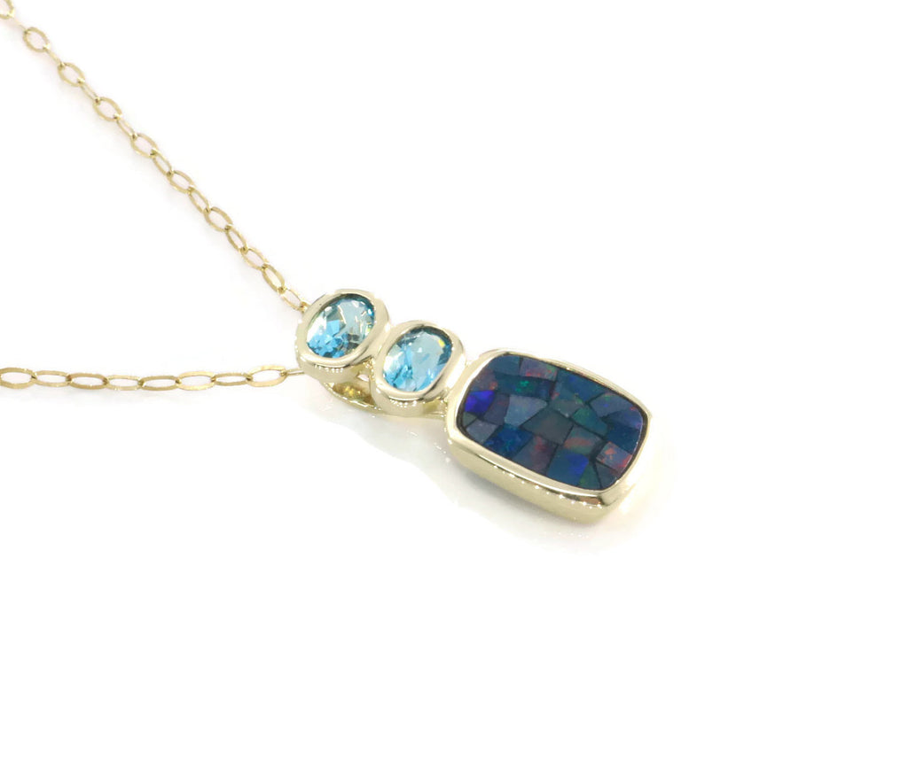 Topaz & Black Opal Pendant 9ct Yellow Gold