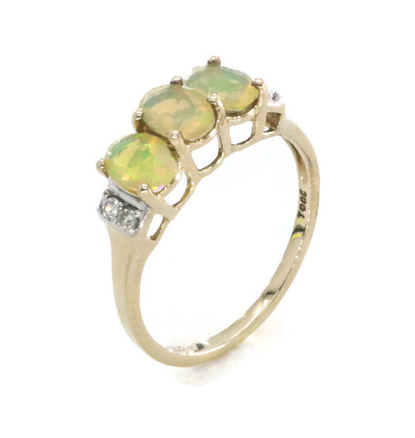 Opal & Diamond Ring 9ct Yellow Gold
