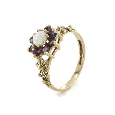 Ruby & Opal Ring 9ct Yellow Gold