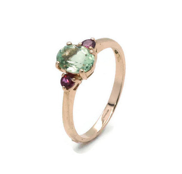 Green Amethyst Ring 9ct Rose Gold