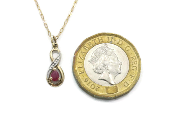 Diamond & Ruby Necklace 9ct Yellow Gold