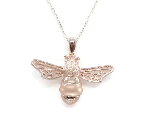 Large Rose Gold Bee Pendant 925 Sterling Silver