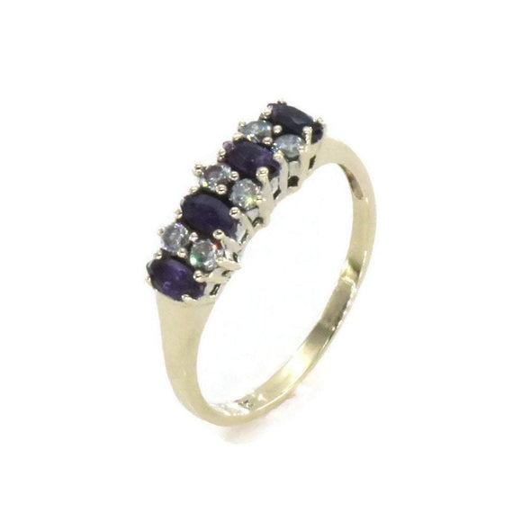 Amethyst & Cubic Zirconia Band 9ct Yellow Gold