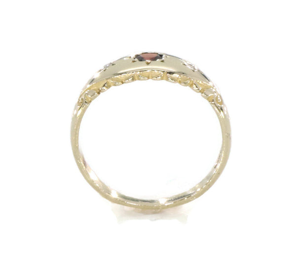 Garnet & Diamond Ring 9ct Yellow Gold