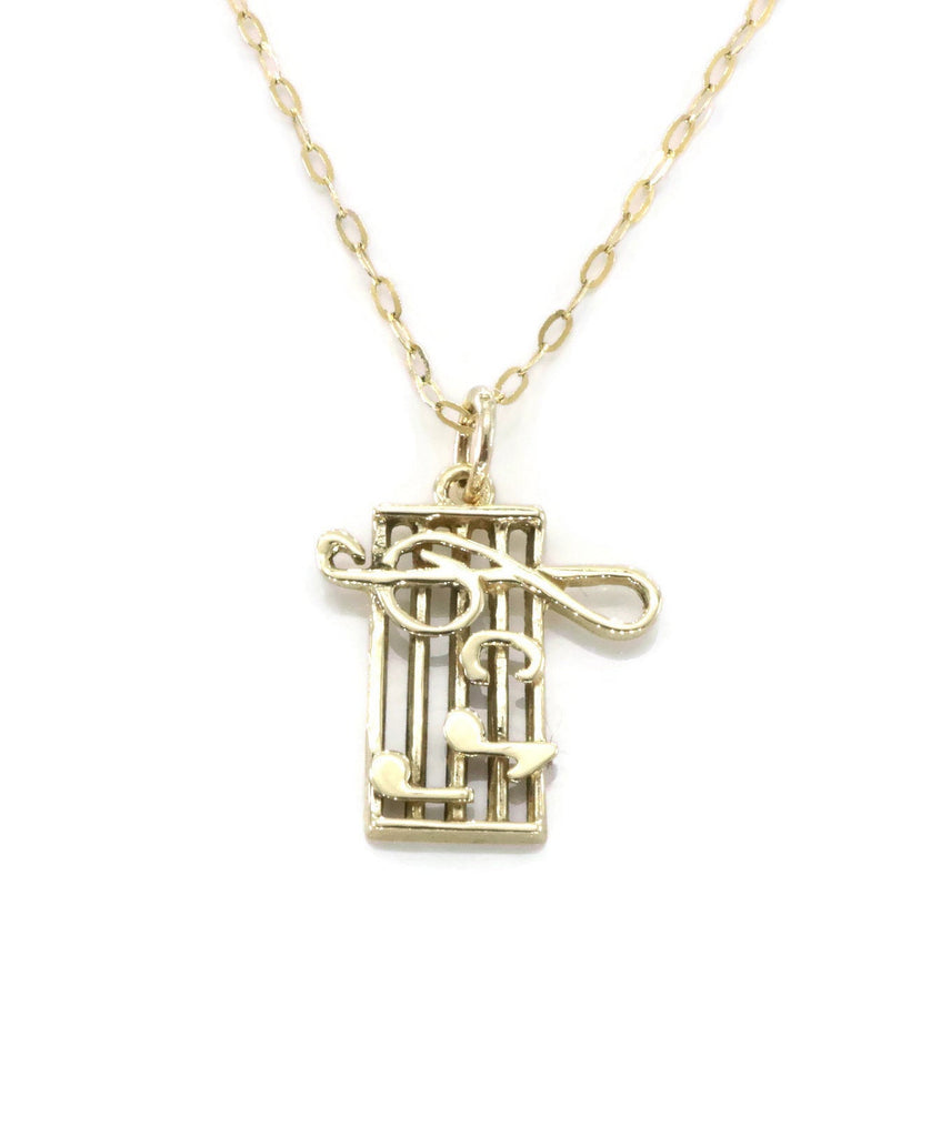 Music Note Necklace 9ct Yellow Gold