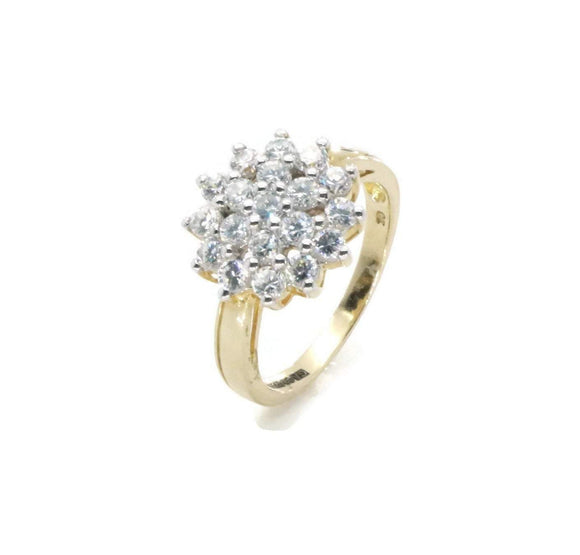 Cubic Zirconia Cluster Ring 9ct Yellow Gold