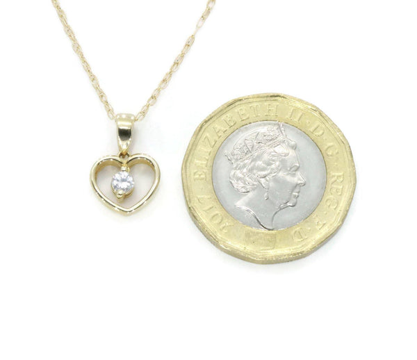 Cubic Zirconia Heart Necklace 9ct Yellow Gold