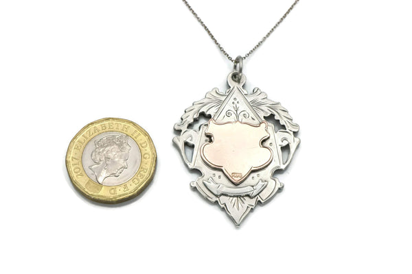 Antique Silver & Rose Gold Shield Necklace