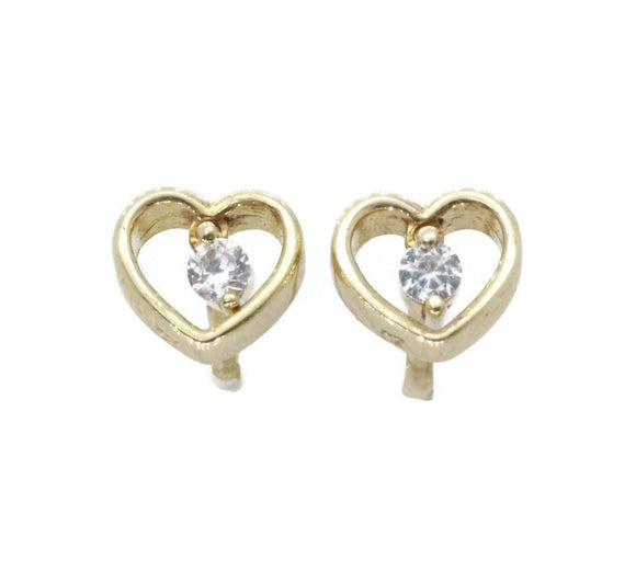 Cubic Zirconia Heart Stud Earrings 9ct Yellow Gold