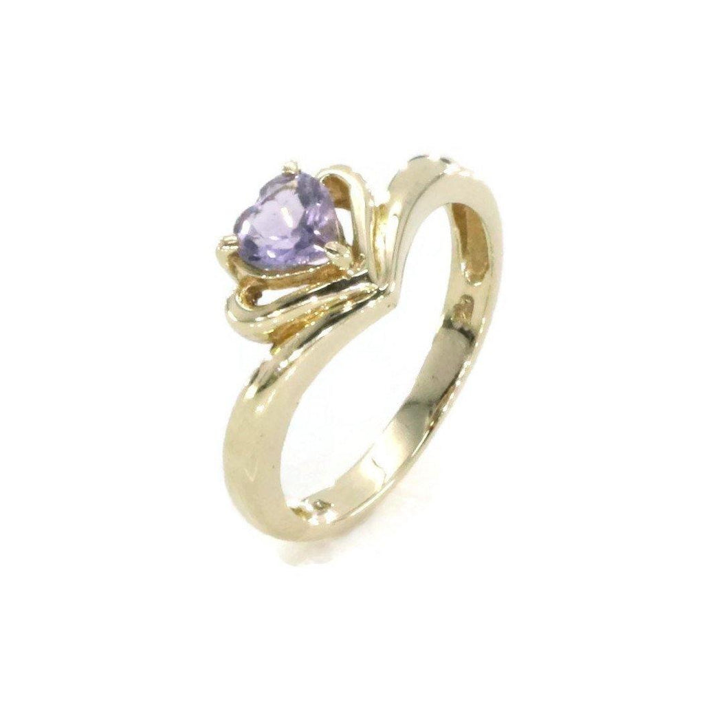 Amethyst Heart Ring 10ct Yellow Gold - Renee Isabella