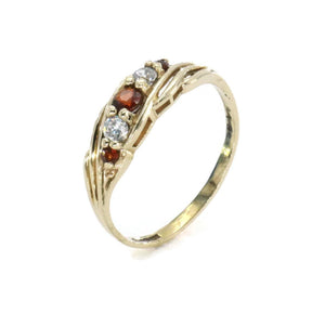 Garnet & Cubic Zirconia Ring 9ct Yellow Gold