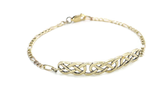 Celtic Knot Figaro Bracelet 9ct Yellow Gold