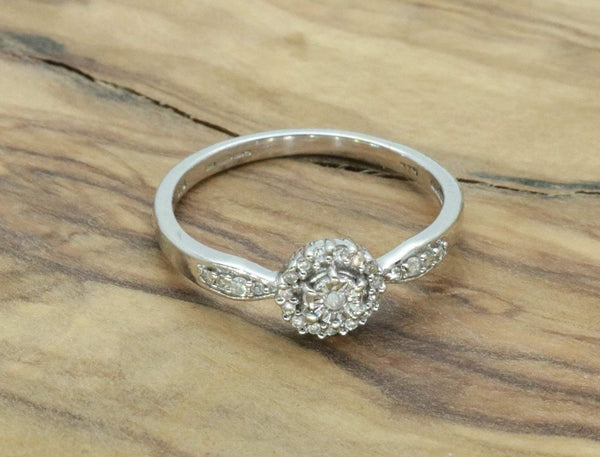 Diamond Cluster Engagement Ring 9ct White Gold