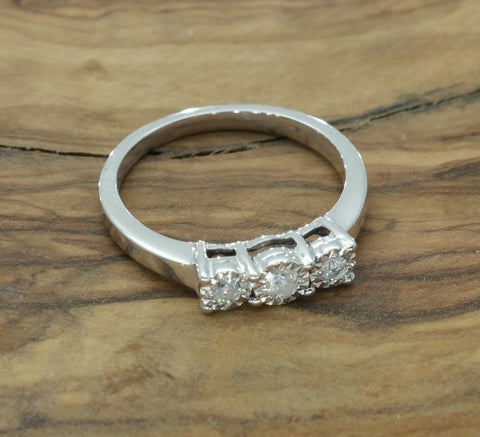 Trilogy Diamond Engagement Ring 9ct White Gold