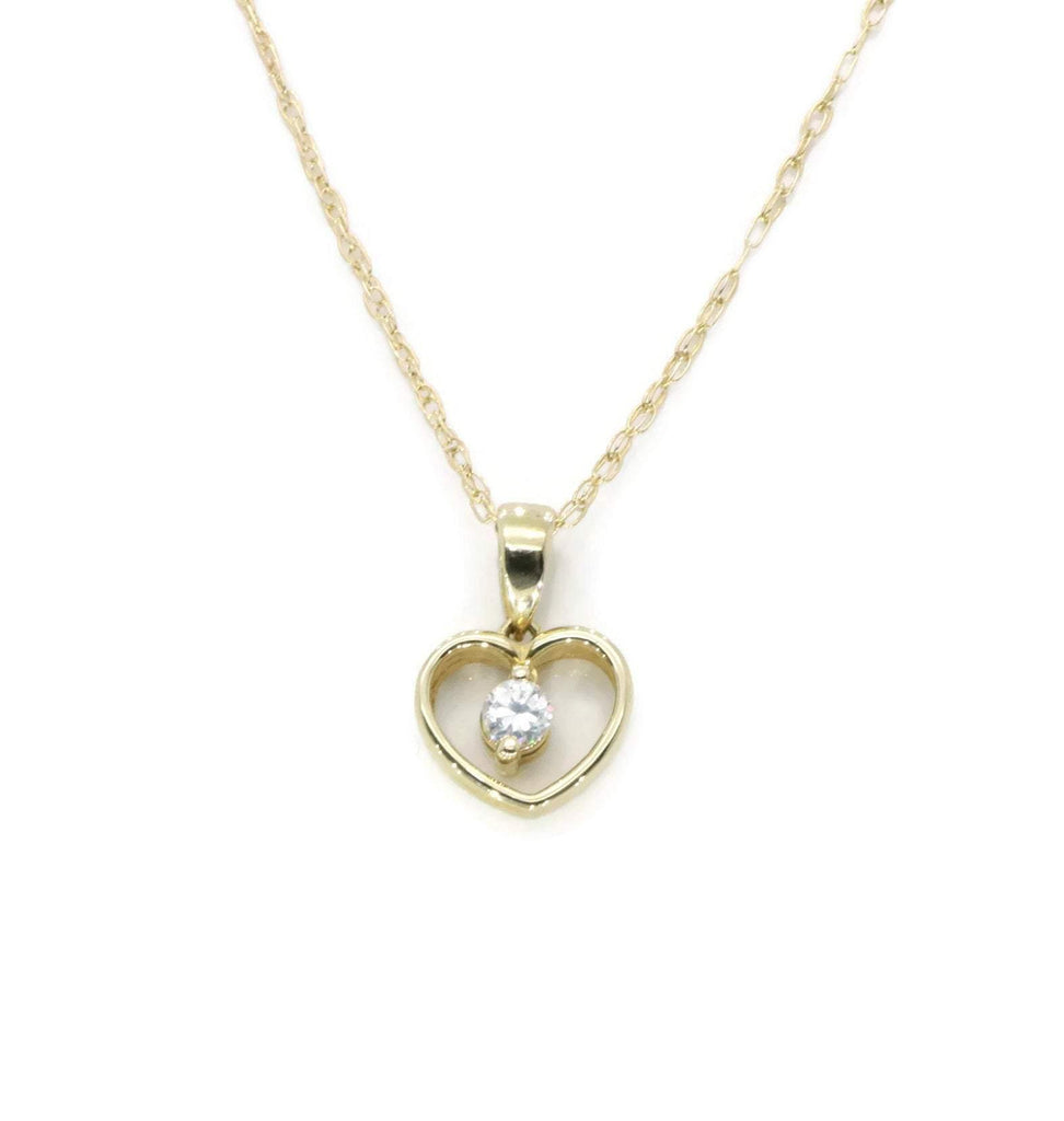 Cubic Zirconia Heart Necklace 9ct Yellow Gold - Renee Isabella