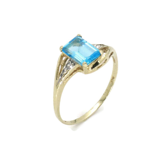 Blue Topaz & Diamond Ring 9ct Gold