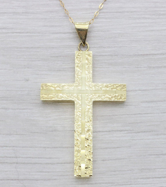 Diamond Cut Cross Pendant 9ct Yellow Gold