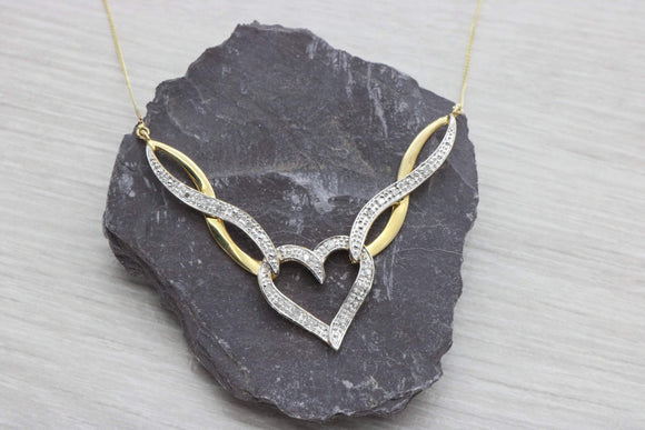 Diamond Heart Pendant 9ct Yellow Gold