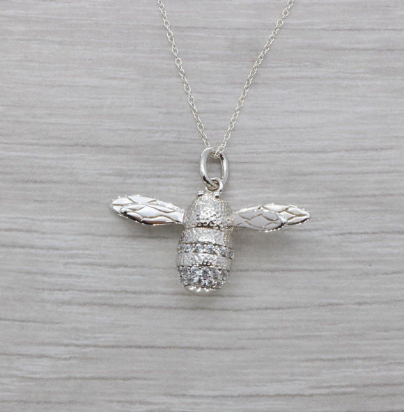 Cubic Zirconia Honey Bee Necklace 925 Sterling Silver