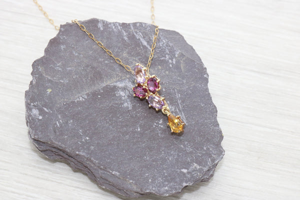 Mulit-Gemstone Pendant 9ct Yellow Gold