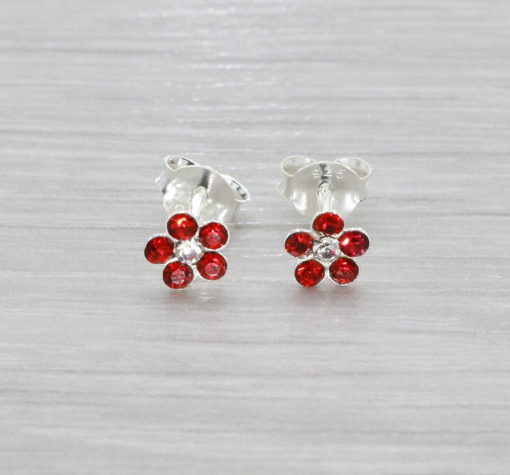 Red Flower Stud Earrings 925 Sterling Silver