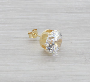 Single Cubic Zirconia Stud Earring 9ct Yellow Gold
