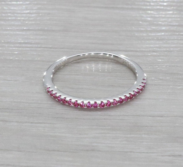 Red Cubic Zirconia Half Eternity Ring 925 Sterling Silver