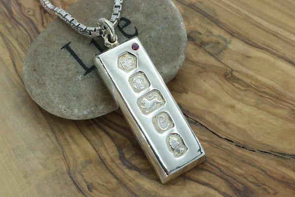 Vintage Silver Ingot, Silver Bar Necklace, Sterling Silver Bar, Ingot Bar Necklace, Silver Ingot, Ingot Necklace, 925 Silver Ingot, Long Bar Necklace, Ruby Necklace, Ingot Pendant, Ruby Pendant, Silver Ruby Necklace, Silver Ruby Pendant