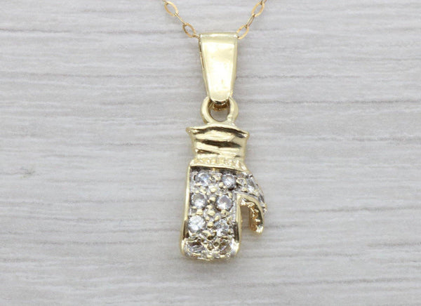 Cubic Zirconia Boxing Glove Pendant 9ct Gold