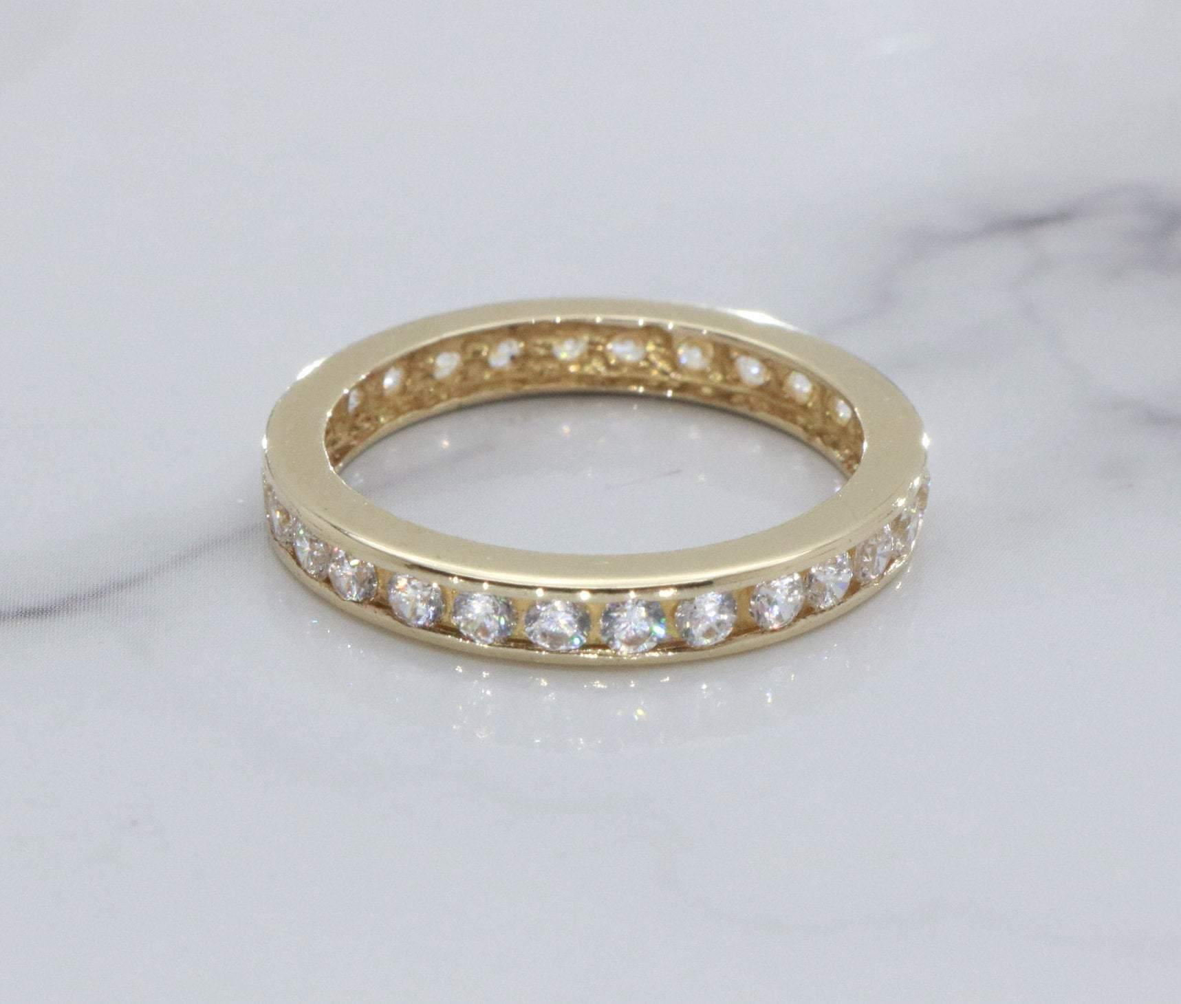 Cubic Zirconia Eternity Band 9ct Gold