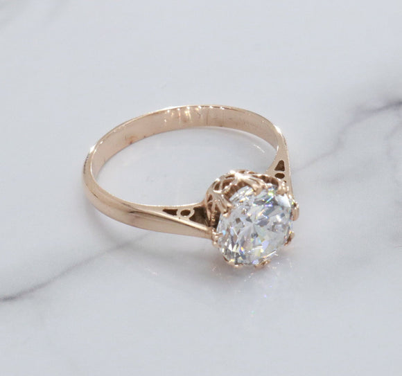 Solitaire Cubic Zirconia Ring 9ct Rose Gold