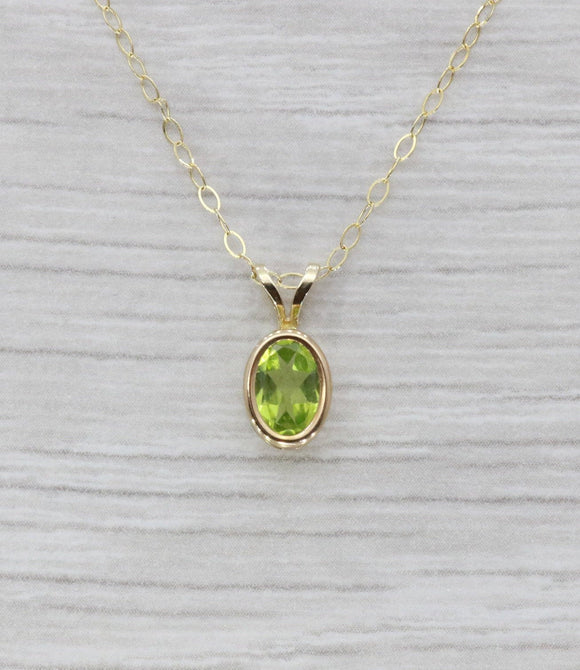 Green Peridot Necklace 9ct Yellow Gold