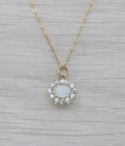Opal & Cubic Zirconia Pendant 9ct Yellow Gold