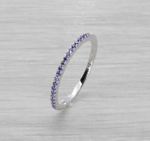Purple Cubic Zirconia Ring 925 Sterling Silver
