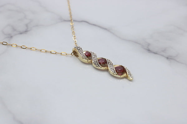 Ruby & Diamond Necklace 9ct Yellow Gold