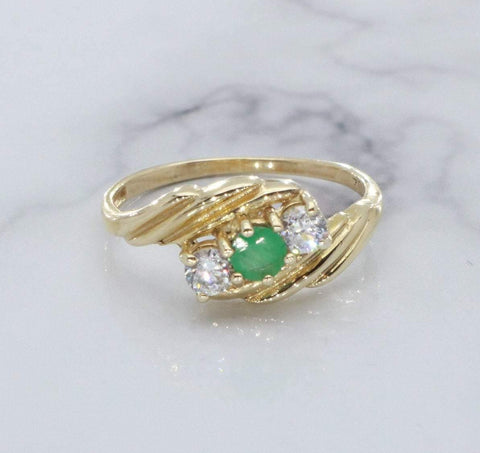 Emerald & Cubic Zirconia Engagement Ring 9ct Gold