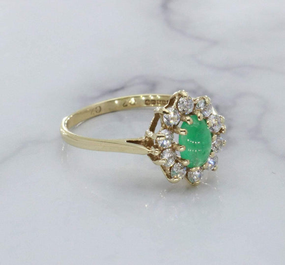Emerald & Cubic Zirconia Ring 9ct Yellow Gold