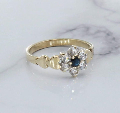 Black Sapphire & Cubic Zirconia Ring 9ct Gold