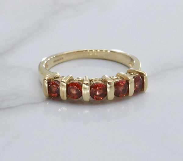Red Garnet Band 9ct Yellow Gold