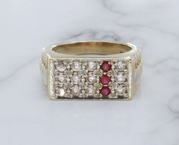 Ruby & Cubic Zirconia Rolex Ring 9ct Gold