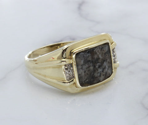 Welsh Granite & Diamond Ring 9ct Yellow Gold