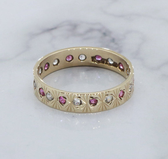 Ruby & Diamond Wedding Band 9ct Yellow Gold