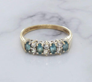 Blue Topaz & Cubic Zirconia Ring 9ct Yellow Gold