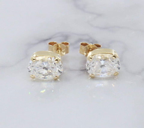 Cubic Zirconia Stud Earrings 9ct Yellow Gold