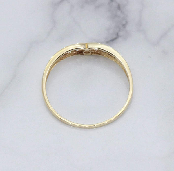 Cubic Zirconia Wishbone Ring 9ct Gold