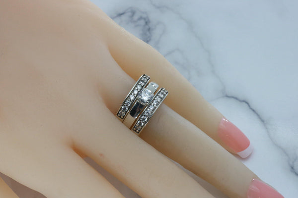 Cubic Zirconia Bridal Ring Set 925 Sterling Silver
