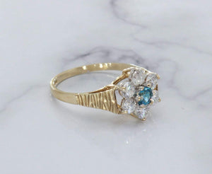 Ceylon Sapphire & Cubic Zirconia Ring 9ct Yellow Gold
